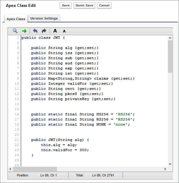 The JWT class in the Apex code editor.