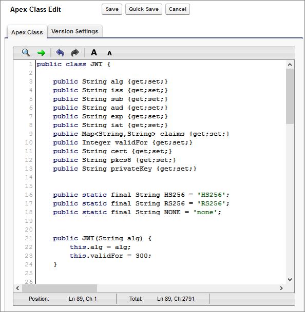 Apex コードエディタでの JWT クラス。