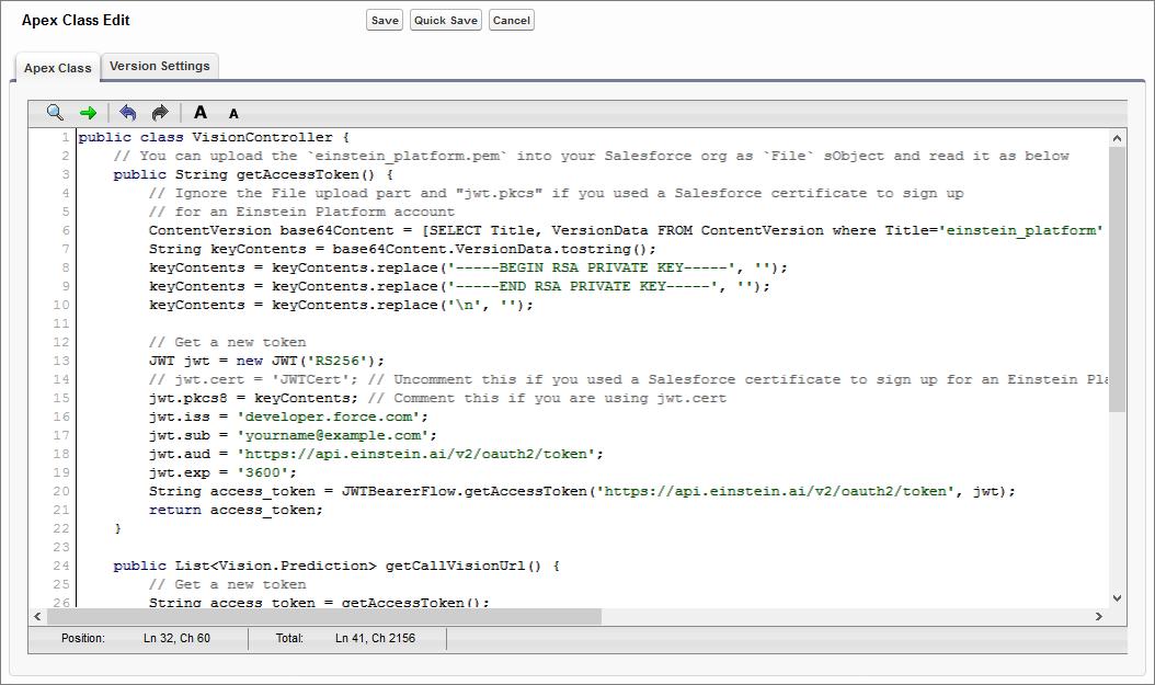 Apex コードエディタでの VisionController クラス。