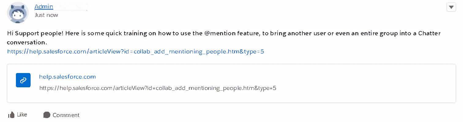 ヘルプおよびサポートページへのリンクが表示された Chatter 投稿