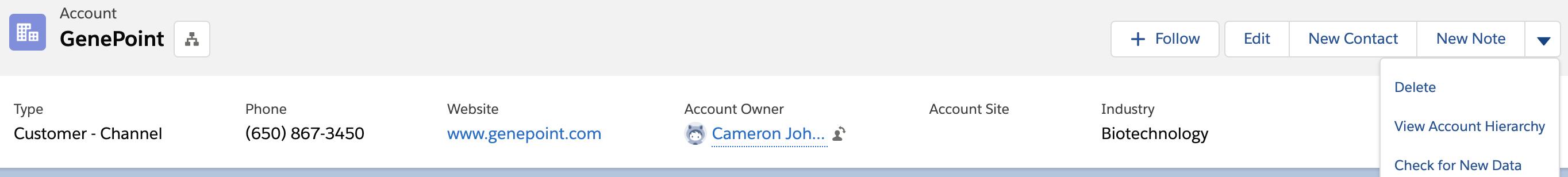 GenePoint 取引先。[Delete (削除)] ボタンが表示されています。