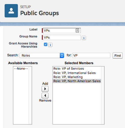 The Public Group Setup screen for VPs with all VP roles showing under Selected Members.