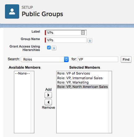 VP を対象とする公開グループの設定画面。[Selected Members (選択済みのユーザ)] に、いずれかの VP ロールが設定された VP が表示されています。