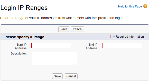 Login IP Ranges page in Salesforce.