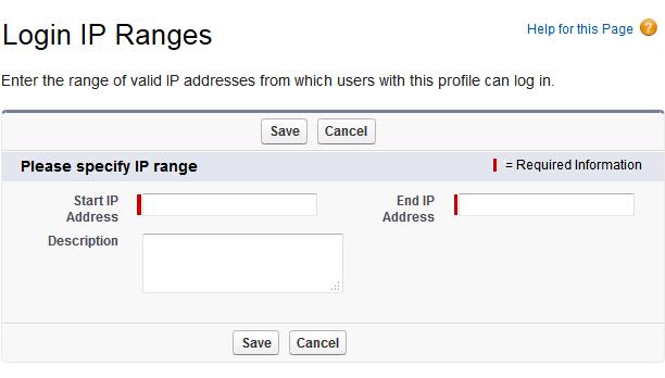 Salesforce の [Login IP Ranges (ログイン IP 範囲)] ページ