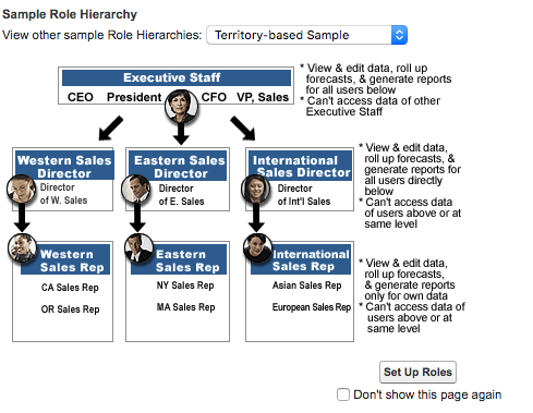Sample Role Hierarchy with sales reps beneath sales directors, who are all beneath the executive staff.