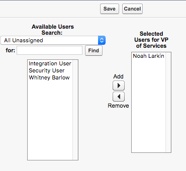 ロールの選択画面。[Selected Users for VP of Services (サービス担当副社長に選択されたユーザ)] の下に Noah Larkin が表示されています。