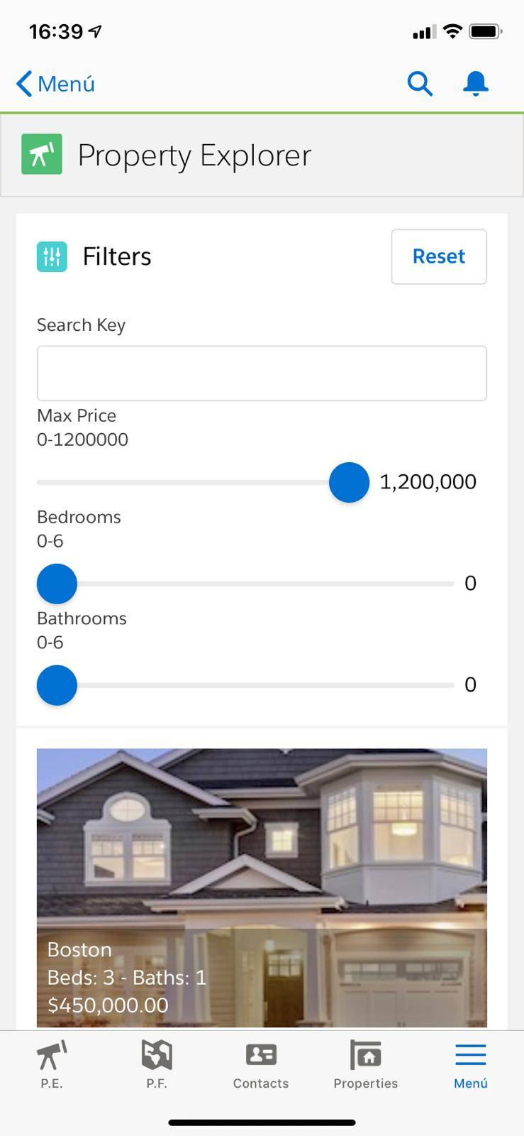 Property Explorer on mobile