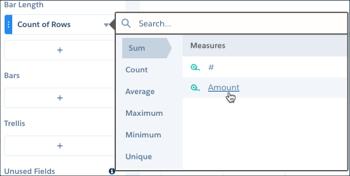 [Count of Rows (行数)] をクリックして開いたボックスで、[Sum (合計)]、[Amount (金額)] の順に選択します。
