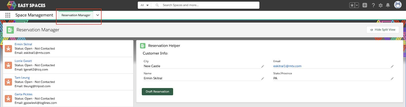 Reservation Manager navigation item is selected from the navigation menu of the Salesforce Console App