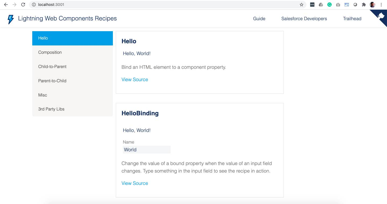 LWC OSS Recipes App running locally on localhost:3001