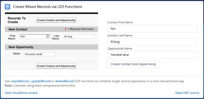 The Create Mixed Records via LDS Functions example has three inputs (first name, last name, and opportunity name) and a Create Contact and Opportunity button. There is a Visualforce implementation and a Lightning web component.