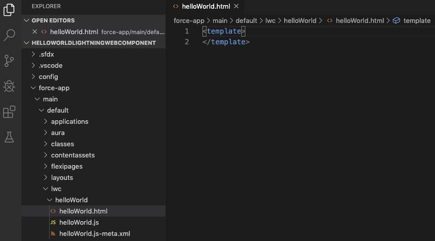 Dateihierarchie der Lightning-Webkomponente in Visual Studio Code