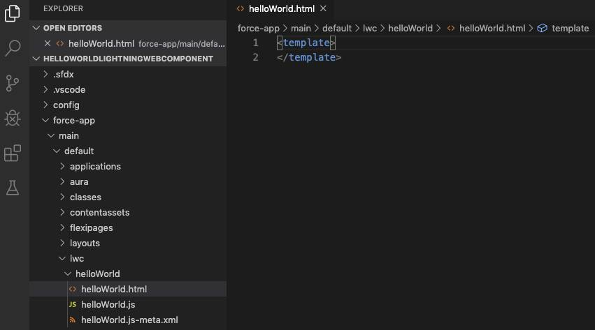 Hierarquia de arquivos de componente Web do Lightning no Visual Studio Code