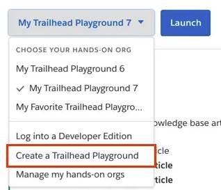 Menú desplegable Crear un Trailhead Playground en el reto de un paso de verificación de un proyecto.