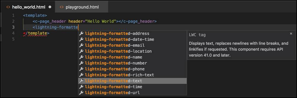 Visual Studio Code's code completion in action.