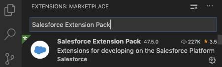 Visual Studio Code-Suche nach 'Salesforce Extension Pack'.