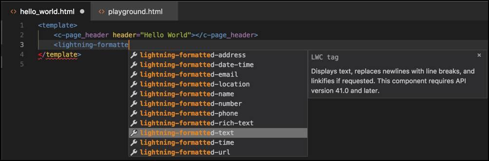 Función de completar código de Visual Studio Code en acción.