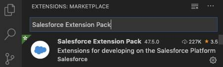 Visual Studio Code での Salesforce Extension Pack の検索。