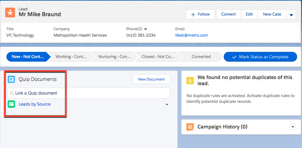 Lead detail record showing a link to Quip document named Leads by Source.