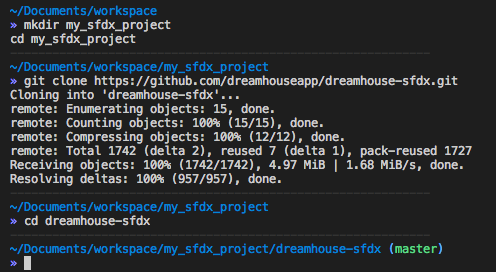 Image shows cloning dreamhouse-sfdx project from GitHub