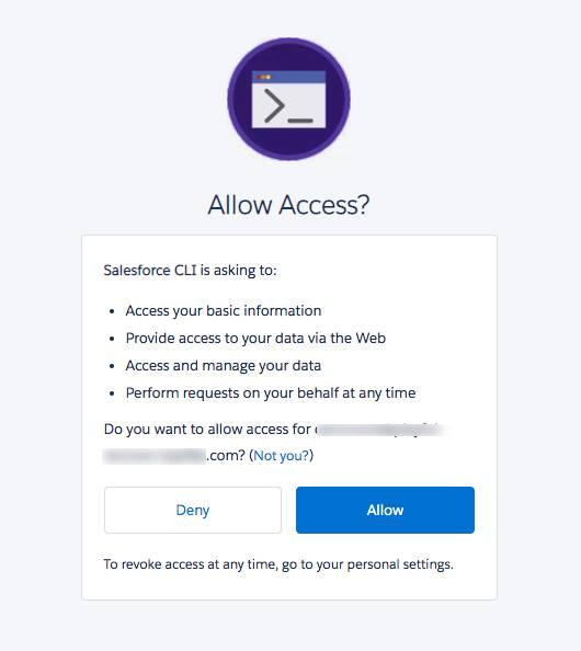 Page d'autorisation pour l'application connectée SalesforceCLI