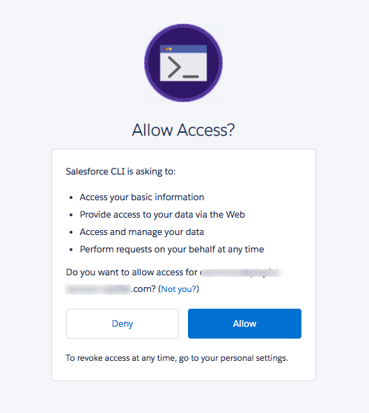 Salesforce CLI 接続アプリケーションの [Authorization (認証)] ページ