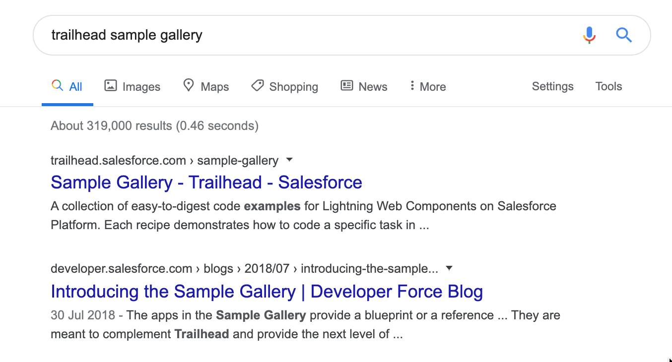 Google search results for Trailhead sample gallery.
