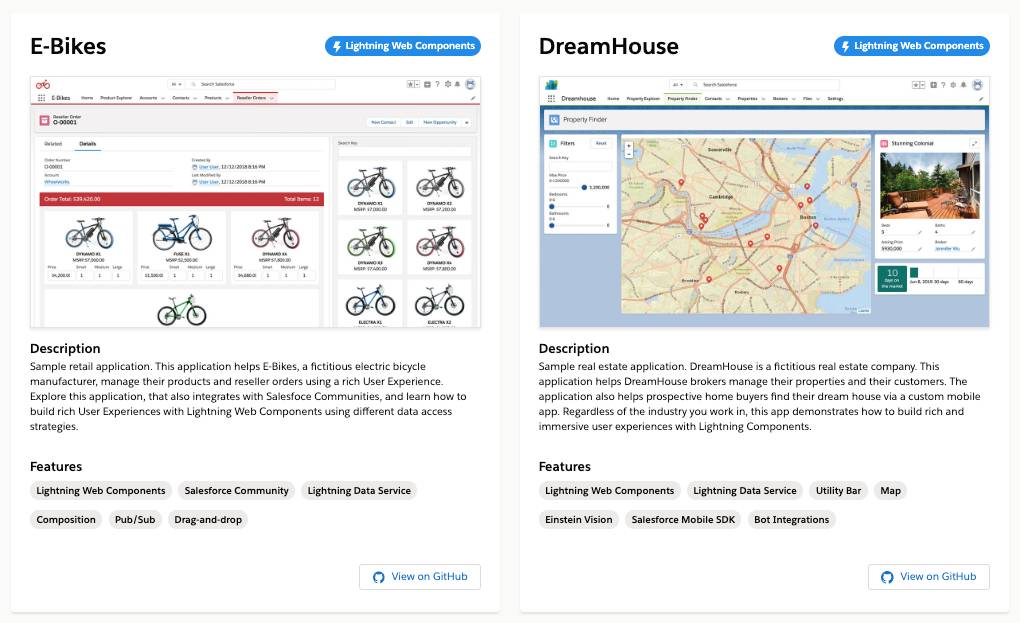 Two use case app tiles, E-Bikes and DreamHouse.