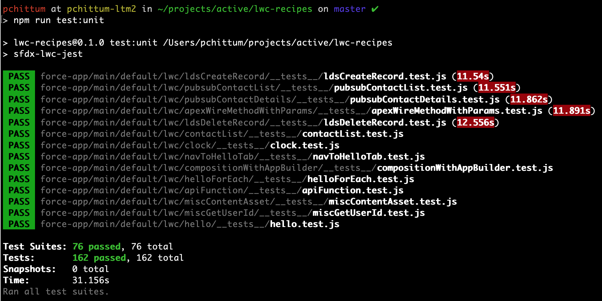 Running unit tests with npm run test:unit.