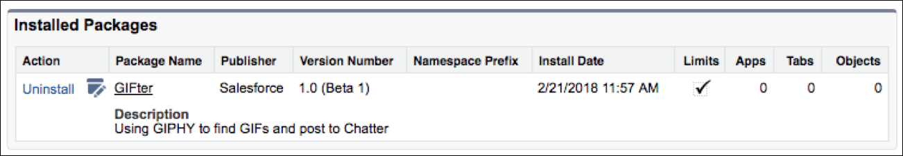 View your installed packages in the Installed Packages dialog. You can see GIFter listed here with its version number and install date and time.