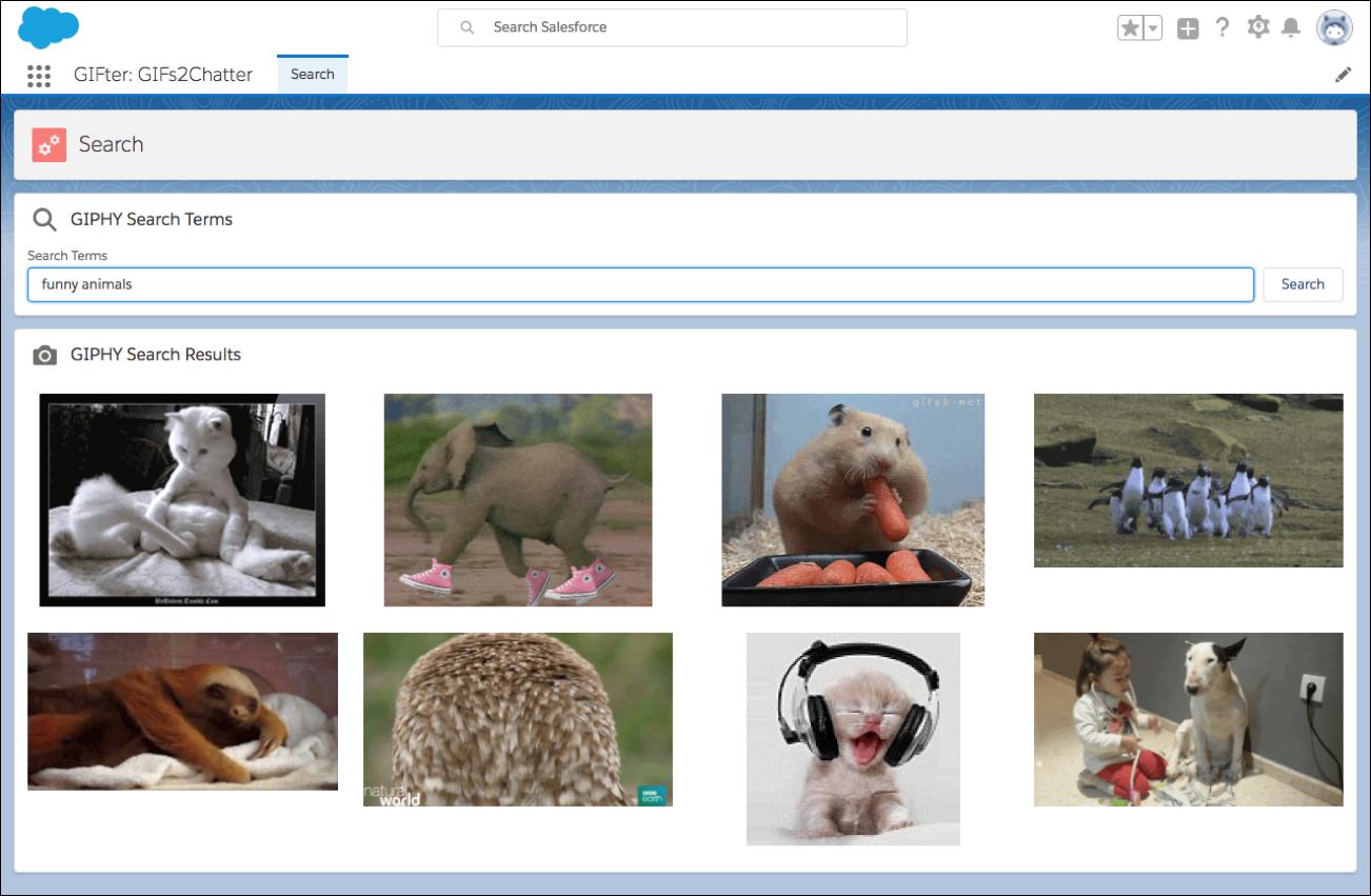 [GIPHY Search Terms (GIPHY 検索語)] ウィンドウでは、キーワードに基づいてアニメーション GIF を検索できます。[Search Terms (検索語)] に検索語を入力すると、条件に一致する画像が表示されます。