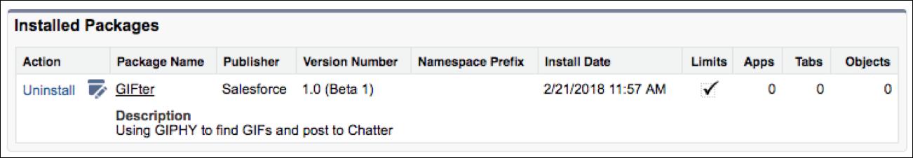 [Installed Packages (インストール済みパッケージ)] ダイアログでインストール済みパッケージを確認できます。GIFter がリストされ、バージョン番号とインストール日時も表示されています。