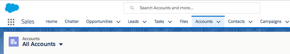 The Accounts tab is in the Sales app. It includes a number of list views including the All Accounts list view.