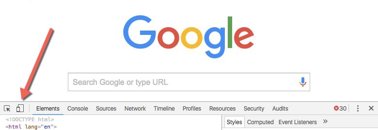 [View (表示)] | [Developer (デベロッパー)] | [Developer Tools (デベロッパーツール)] を選択した後の Google ホームページで、[Toggle Device Mode (デバイスモードの切り替え)] アイコンを示す矢印が表示されている。