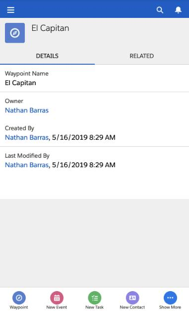 A screenshot of the Salesforce mobile view of the El Capitan record, visible from the desktop using developer tools in Chrome.