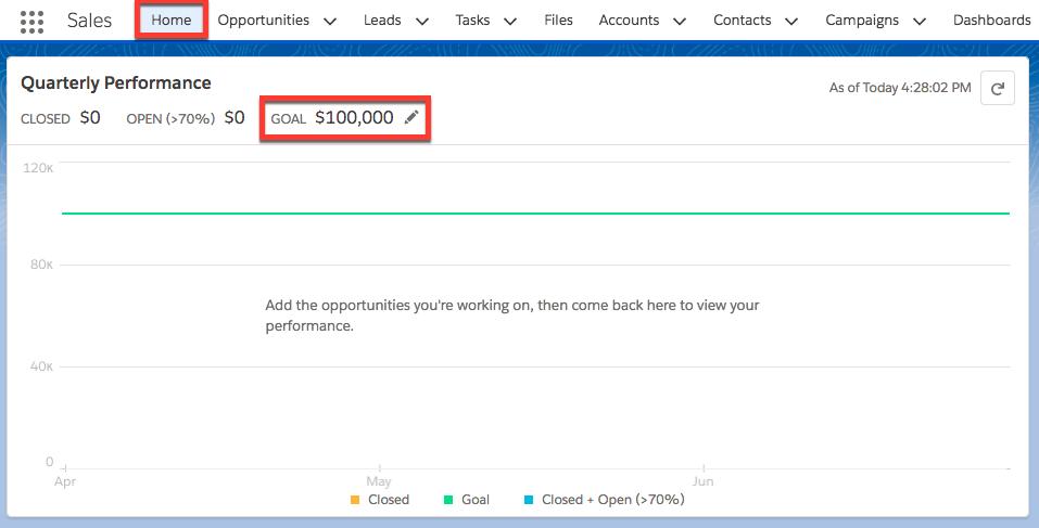 Cliquez sur l'onglet Accueil et saisissez un objectif de 100000
