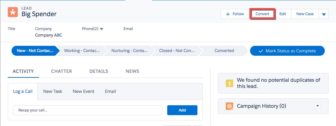 Dialogfeld 'Convert Lead (Lead konvertieren)' mit Hervorhebung des Werts von 10.000 Einheiten für den Opportunity-Namen
