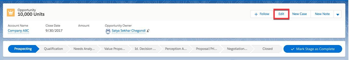 Botón Modificar resaltado en una oportunidad de 10.000 unidades.