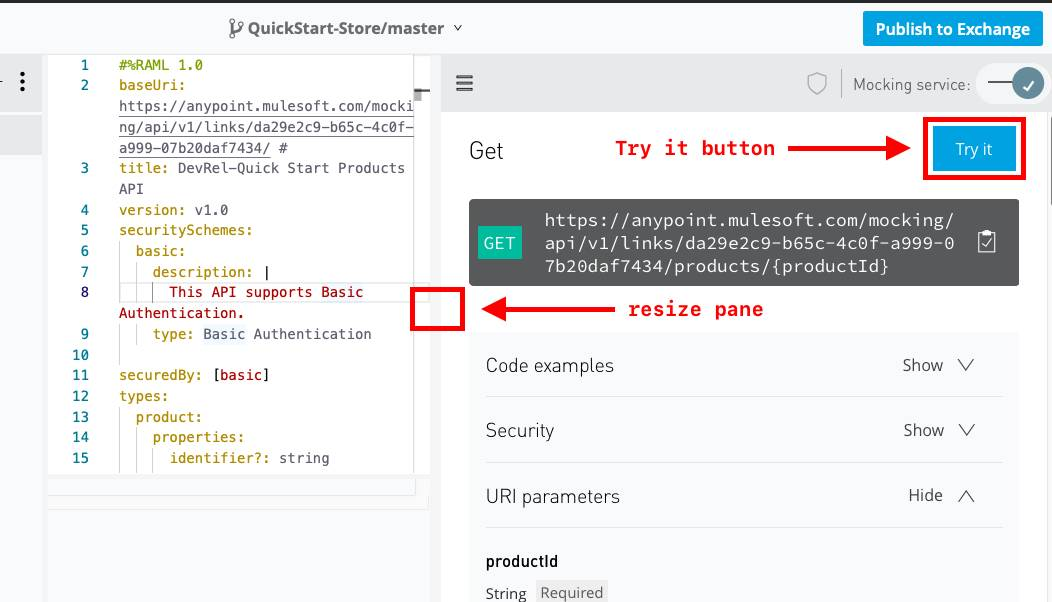 API Designer with a red arrow pointing at the Try it button, and a red arrow pointing at the bar between the code and the mocking service.