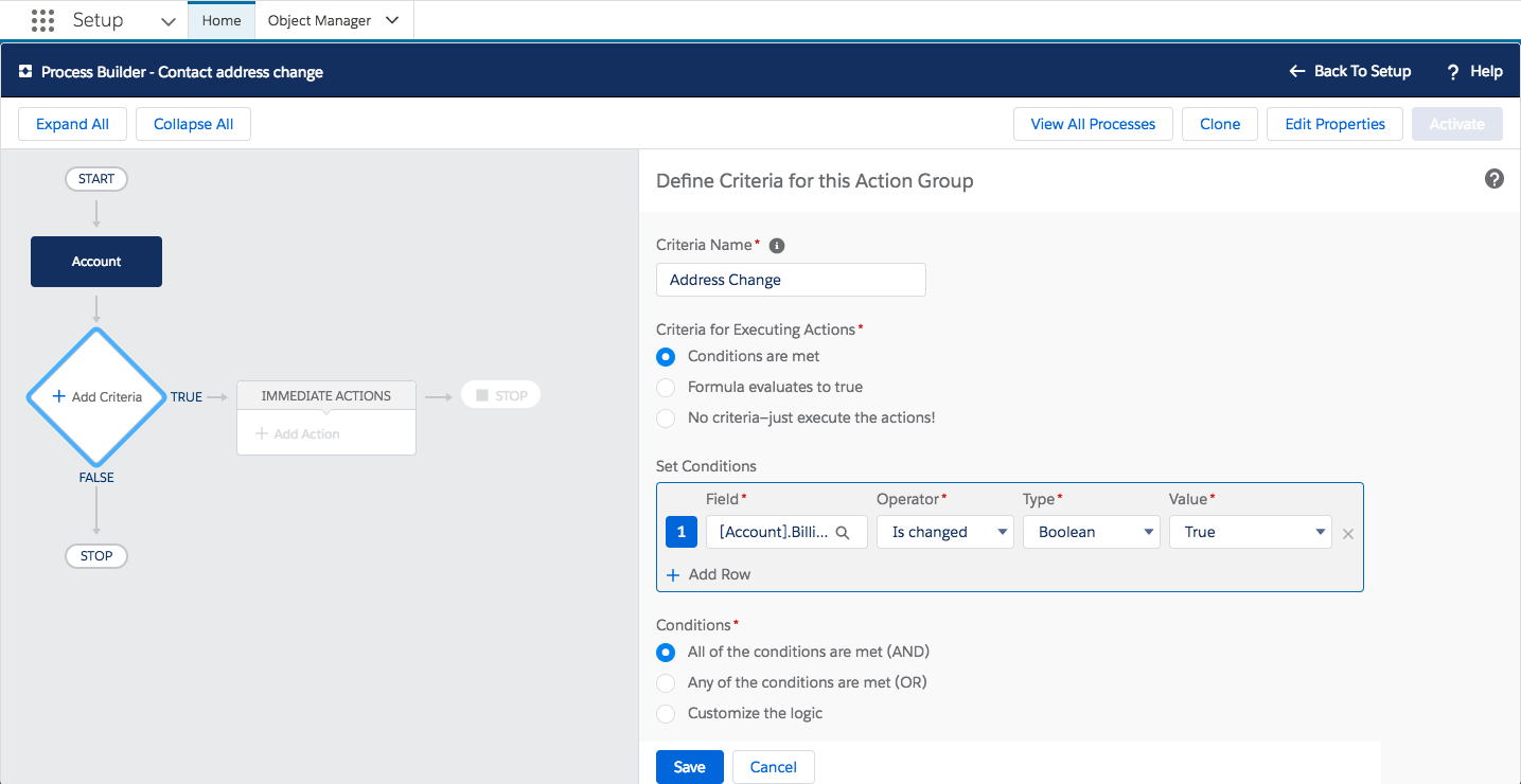 Screenshot of the Process Builder action in Setup showing how to define the criteria for when the action should run