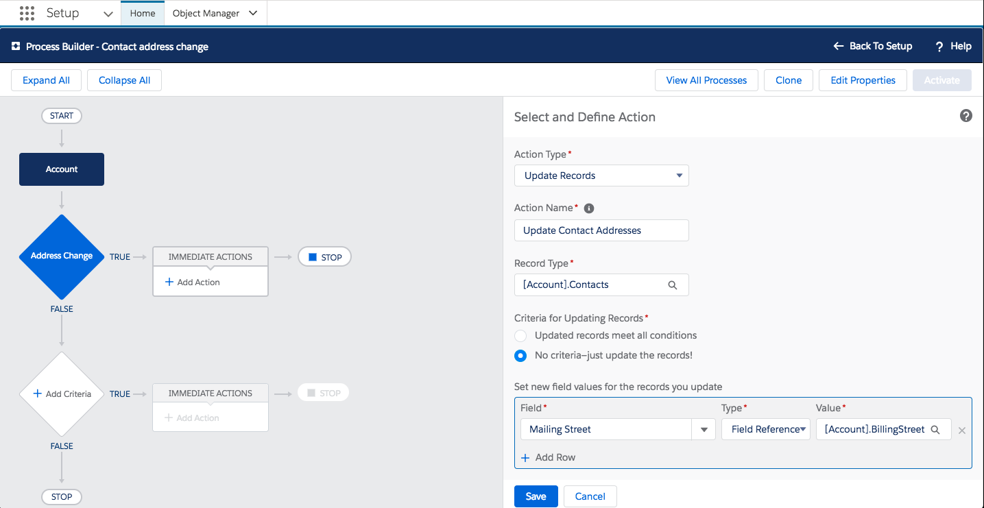 Screenshot of the Process Builder action in Setup showing how to select and define what will happen when the billing street address is changed