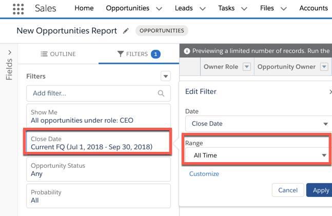Captura de pantalla de la sección Filtros en Generador de reportes, que se utiliza para especificar un intervalo de fecha.