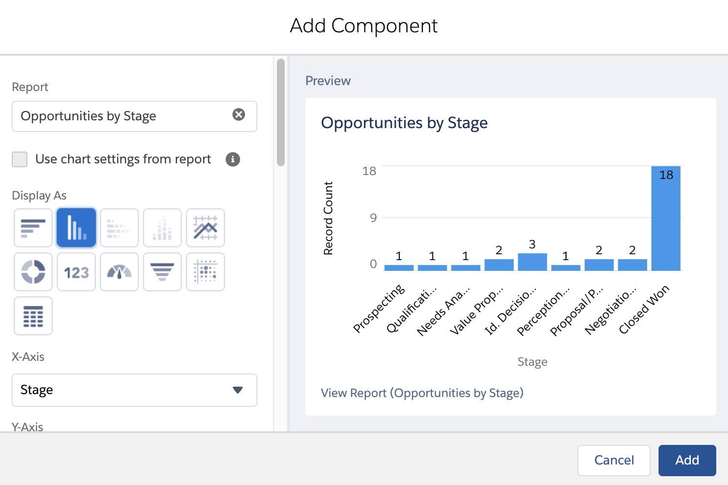Der Dashboard-Editor enthält Komponententypen im Abschnitt 'Display As' (Anzeigen als). Für dieses Projekt wählen Sie die Komponente 'Vertical Bar Chart' (Vertikales Balkendiagramm). Das Feld 'Report' (Bericht) sollte den bei diesem Projekt erstellten Bericht mit dem Titel 'Opportunities by Stage' enthalten. Klicken Sie auf 'Add' (Hinzufügen), um die Komponente hinzuzufügen.