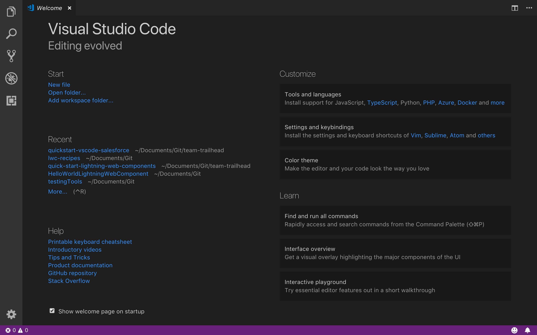 Página de bienvenida de Visual Studio Code.