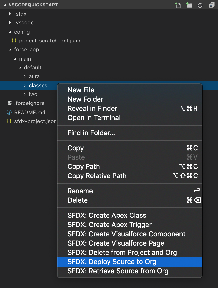 With the classes folder right clicked, SFDX: Deploy Source to Org is selected in the options list.