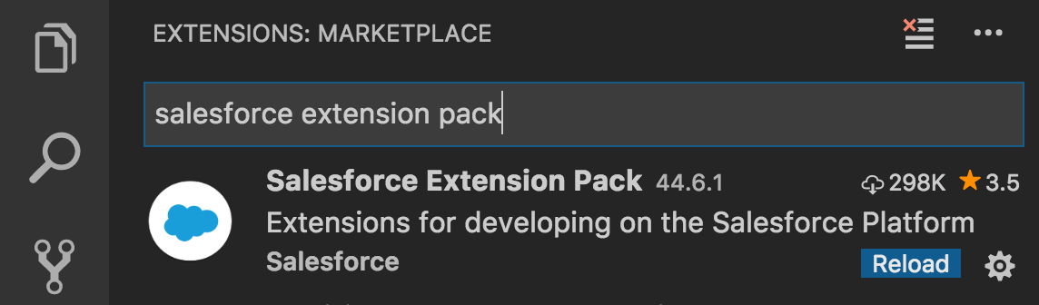 Visual Studio Code search result for Salesforce extension pack.