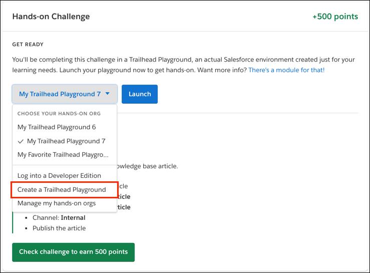 La liste déroulante Create a Trailhead Playground (Créer un Trailhead Playground) dans le défi pratique d'un module.
