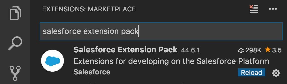 Visual Studio Code での Salesforce Extension Pack の検索結果。