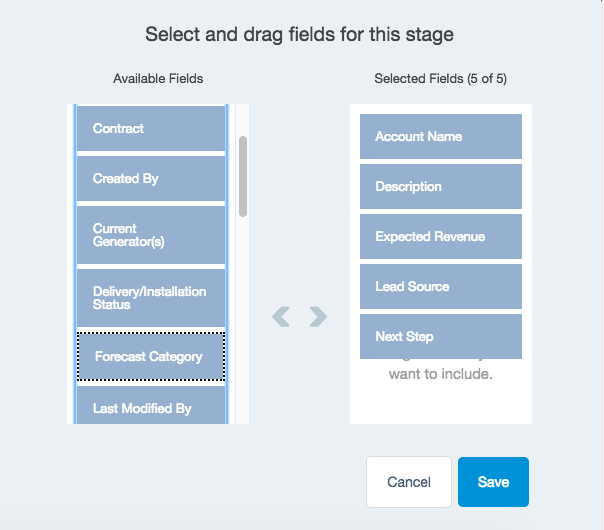 Qualification Stage Fields with the selected values in the Selected Fields box.